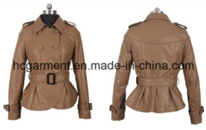 Fashion Punk PU Belt Jackets for Lady/Women, Leather Coats pictures & photos