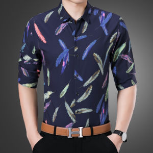 Men′s Casual Button Down Shirt with Feather Floral Pattern pictures & photos