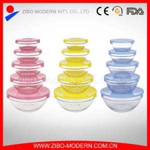 5 PCS Stackable Clear Round Glass Salad Bowl with Colorful Lid Set pictures & photos