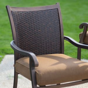 Well Furnir T-083 Rattan Wicker Dining Chair and Steel Slatted Table Set pictures & photos