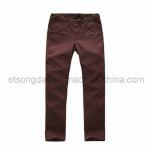 Wine Red Cotton Spandex Men′s Trousers (HV146) pictures & photos