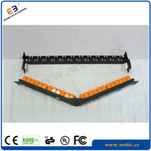 Angled CAT6A UTP Patch Panel with Shutter, 24ports, Toolless pictures & photos