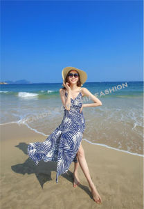 Fashion Printed Chiffon Long Dress/Ladies Beach Dress
