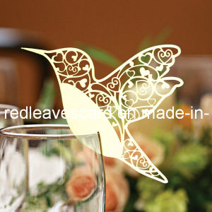 Red Leaves Laser Cutting Hummingbird Glass Card Ivory (color and pattern can be customized)