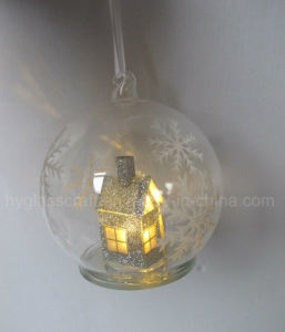 Hanging Christmas Glass Ball with House Inside pictures & photos