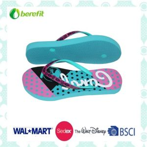 Bright Printing, PE Sole and PVC Straps, Women′s Slippers pictures & photos