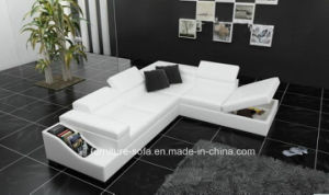 White Modern Big Corner Italy Genuineleather Sofa with Lockers (S082)