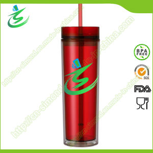 16 Oz Neon Color Double Wall Plastic Straw Cup, Tumbler pictures & photos