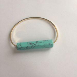 Metal Gold Bracelet with Blue Stone Pendant Jewellery