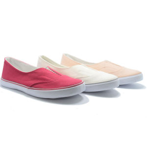Elastic Pure Color Classical Canvas Basic Studeng Women Casual Shoes pictures & photos