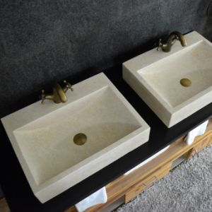 Top Quality Egyptian Beige Marble Vessel Sink pictures & photos