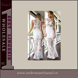 Wholesale White Sexy Floral Lace Long Dress Ladies Underwear (60066-1) pictures & photos