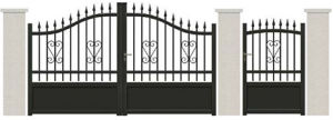 Hot Galvanized Wrought Iron Driveway Gate in Elegant Style pictures & photos