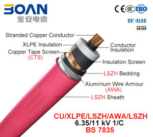 Cu/XLPE/Cts/Lszh/Awa/Lszh, Power Cable, 6.35/11kv, 1/C (BS 7835) pictures & photos