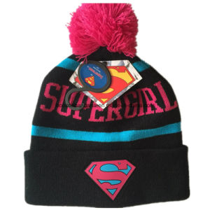 OEM Produce Customized Cartoon Applique Embroidered Pink Winter Snowboard Wool Beanie Hat pictures & photos