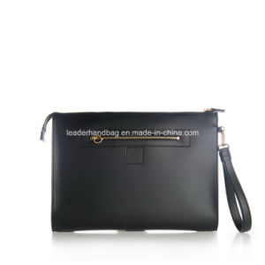 Unisex PU Genuine Leather Decorative Chain Purse Clutches Leather Handbags (LDA-016) pictures & photos