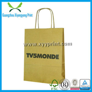 Low Cost Craft Paper Brown Shopping Bag with Logo Print pictures & photos