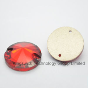 Round Red Flatback Rivoli Sew on Stones with Two Holes pictures & photos