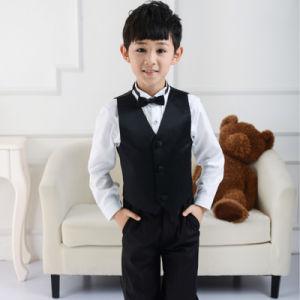 Black Pinstripe Boy Vest and Pant Formal Suit for Graduation pictures & photos