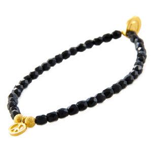 Fashion Jewelry Black-Gold Fashion Crystal Elastic Brecelet (XG-BE64)