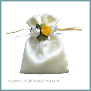 White Satin Gift Pouch Bag with Flowers Bow-Knot