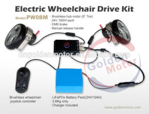 Electric Wheelchair Conversion Kit 8inch Brushless Gear Motor with Joystick Controller and LiFePO4 Battery pictures & photos