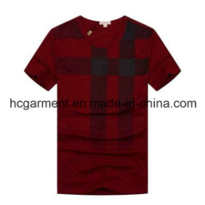 Cotton V-Neck Solid Cotton Red Color T-Shirt for Man pictures & photos