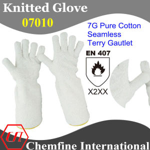 7g White Pure Cotton Seamless Terry Knitted Gauntlet/ En407: X2xx pictures & photos
