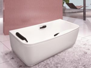 Rectangle White Acrylic Bath Tub with Pillow and Handle pictures & photos