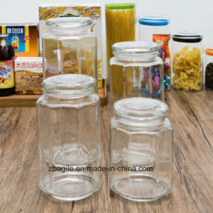 Factory Wholesale Food Wood Lid Storage Glass Bottle (100025) pictures & photos