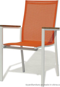 Indoor/Outdoor Furniture Stacking Dining Chair with Orange Sling Back White Frame Finish pictures & photos