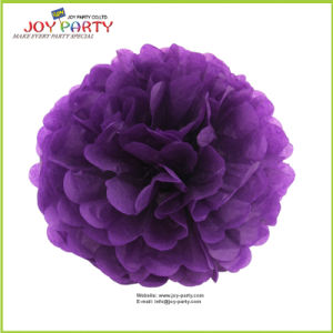 Voilet Purple Paper POM Poms for Wedding Decoration pictures & photos