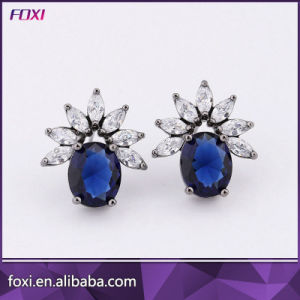 Women New Wholesale Copper Gemstone Jewelry Stud Earrings with Dark Rhodium Plated pictures & photos