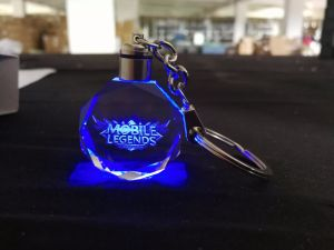 3D Laser Engraving Logo Crystal Keychain with LED Light pictures & photos
