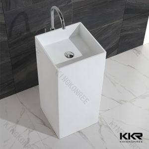 White Solid Surface Matte Finished Pedestal Basin (KKR-1394) pictures & photos