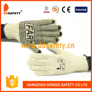 Ddsafety 2017 Cotton Polyester String Knit. Black PVC Dots Glove One Side with Logo pictures & photos