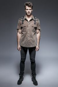 Y-652 Military Uniform Man Double Pockets Short Sleeve Shirts with Collar pictures & photos