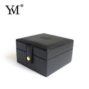 Black Small Leather Jewelry Cosmstic Storage Box pictures & photos