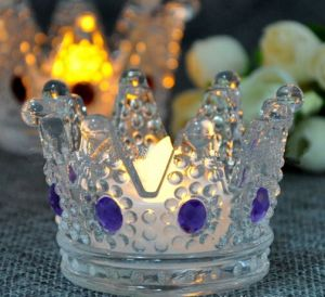 Wedding Gift or Holiday Crown Glass Tealight Candle Holder