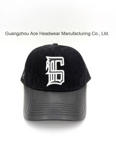 Custom 3D Embroidery Summer Black Mesh Trucker Baseball Cap with PU Brim pictures & photos