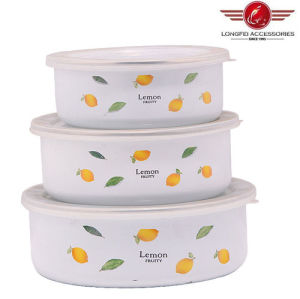 New Style 200d 3PCS White Enamel Bowl with PP Lid pictures & photos