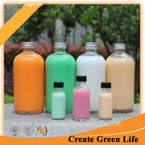 16oz Round Drinking Glass Bottle, Cold Pressed Juice Bottle with Aluminum Cap