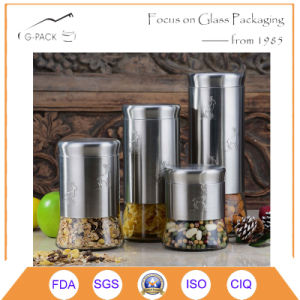 Kitchen Canister Set of 4 Glass Fronted Stainess Steel pictures & photos