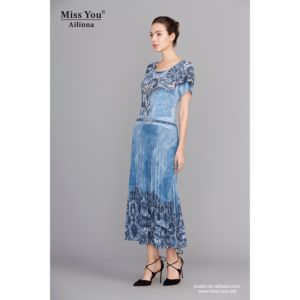 Miss You Ailinna 100794-4 Chiffon Dress Distributor Blue Crystal Cotton Long Dress pictures & photos