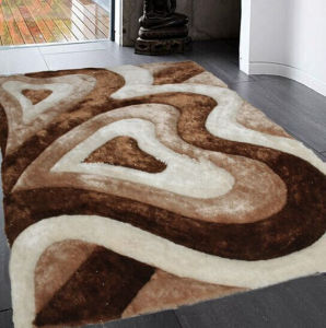Home Rugs Flooring Mat White Gray Color Silk Carpet