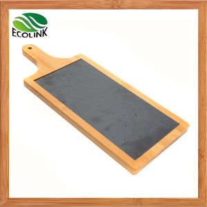 Bamboo Slate Cheese Board with Handles pictures & photos