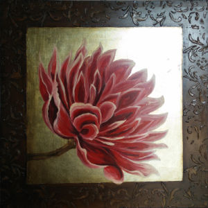 Canvas Floral Painting with Red Water Lily Flower for Home Decoration (LH-145000) pictures & photos