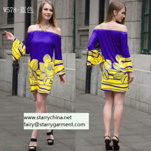 Women Printed Floral Dress with off-Shoulder pictures & photos