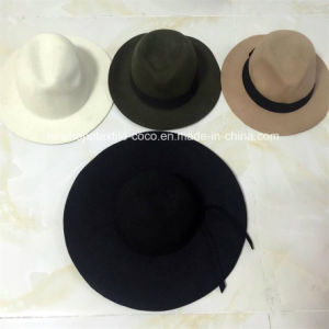 Fashion 100% Wool Panama Fedora Hat with Ribbon pictures & photos
