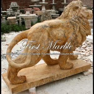 Golden Calcium Lion Sculpture for Garden Decoration Ma-490 pictures & photos